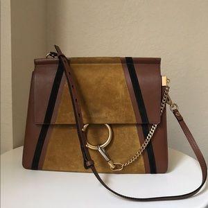 Faye Patchwork Medium Leather & Suede Shoulder Bag